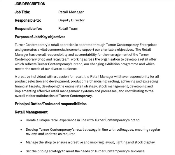 10+ Retail Job Description Templates - PDF, DOC Free  Premium