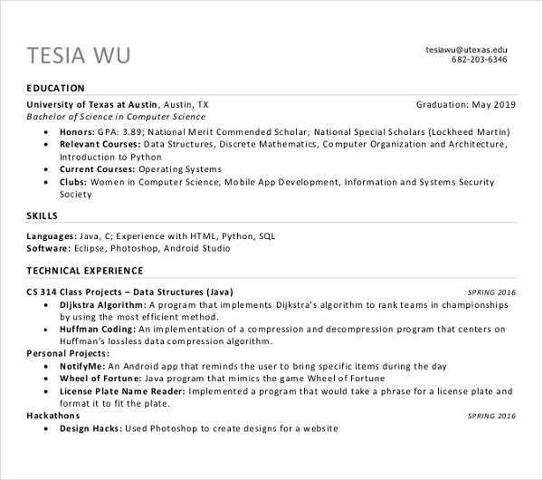 ucsc resume template