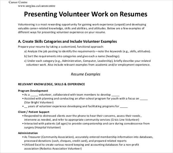 30+ Work Resume Templates in PDF Free  Premium Templates - volunteer work on resume example