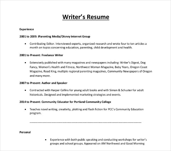 10+ Writer Resume Templates - PDF, DOC Free  Premium Templates