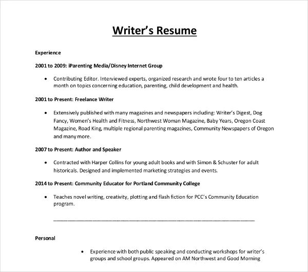 resume for a writer