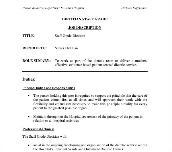10+ Dietitian Job Description Templates - PDF, DOC Free  Premium