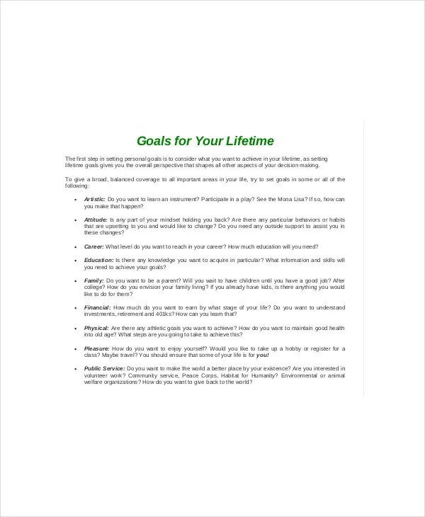 8+ SMART Goal Worksheet Templates - DOC, PDF Free  Premium Templates