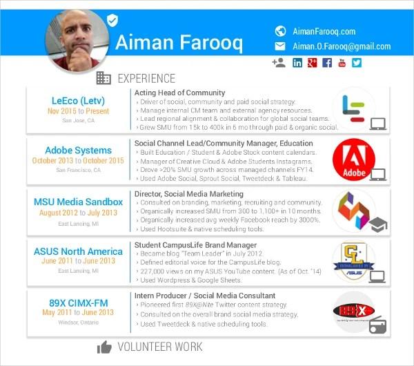 7+ Social Media Resume Templates - PDF, DOC Free  Premium Templates - social media consultant sample resume