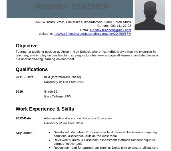 teacher cv example 7 teachers curriculum vitae phoenix officeaz