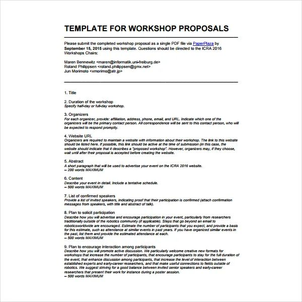 how to write a training proposal