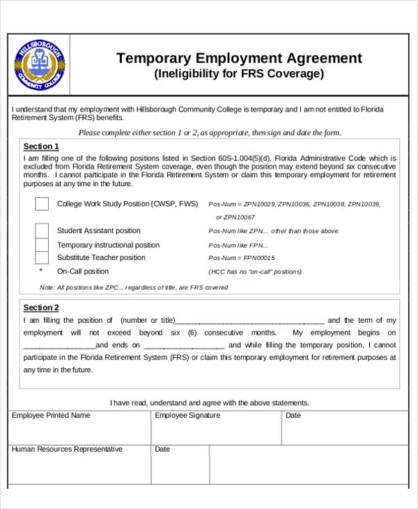 temporary employment contract template - Onwebioinnovate - Work Contract Template