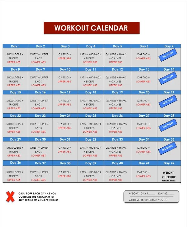 6+ Exercise or Workout Calendar Templates - PDF Free  Premium
