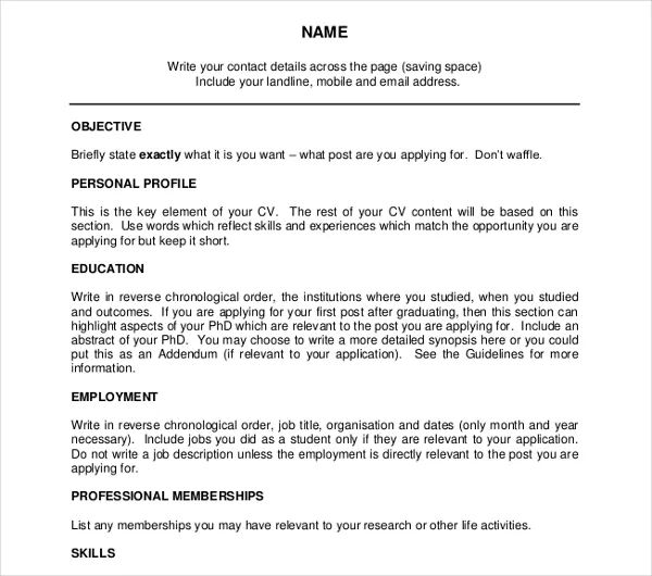 academic cv word template