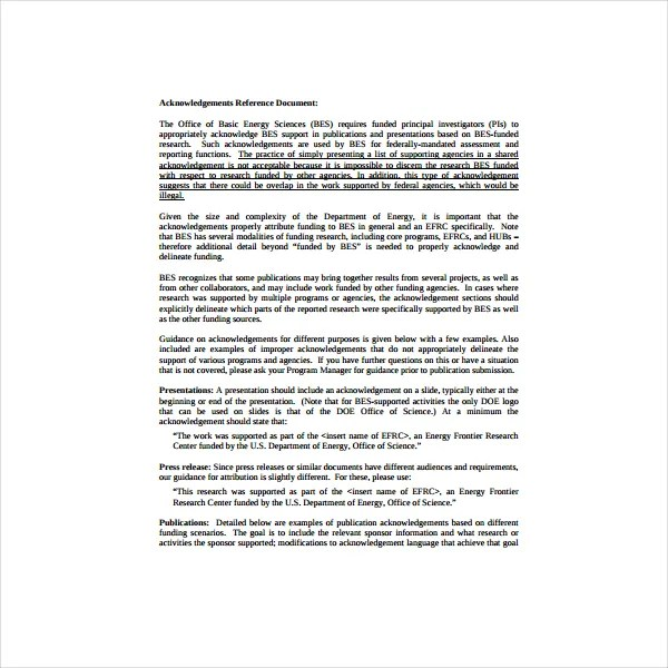 Acknowledgement Report Sample - 12+ Acknowledgement Report Samples