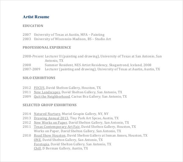 15+ Artist Resume Examples - PDF, DOC Free  Premium Templates - art resume sample