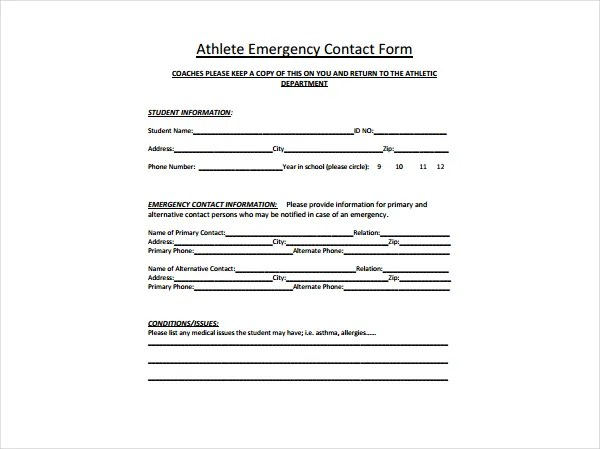 5+ Emergency Information Form Templates - PDF Free  Premium Templates - contact information form