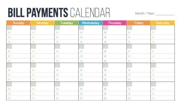 4+ Bill Pay Calendar Templates - PDF Free  Premium Templates