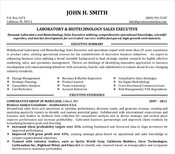 resume templates sales executive