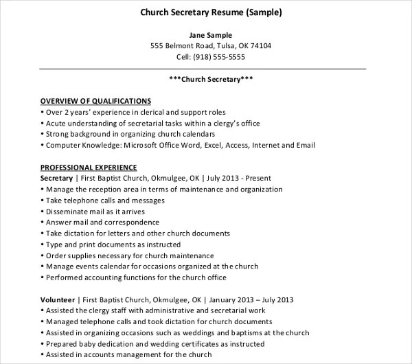 10+ Secretary Resume Templates - PDF, DOC Free  Premium Templates - resume examples for secretary