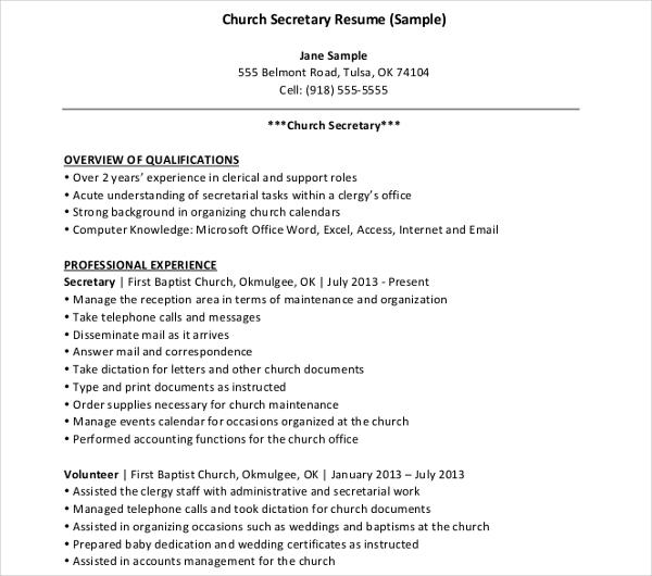 church secretary resume example