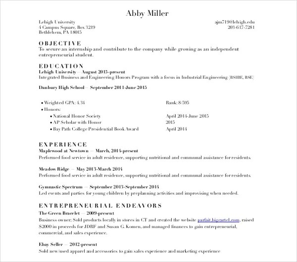 11+ Sample College Resume Templates - PSD, PDF, DOC Free  Premium