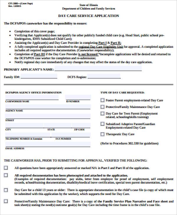 10+ Daycare Application Forms - PDF Free  Premium Templates