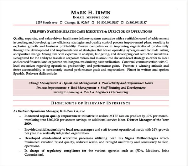 10+ Director of Operations Resume Templates - PDF, DOC Free - healthcare executive resume