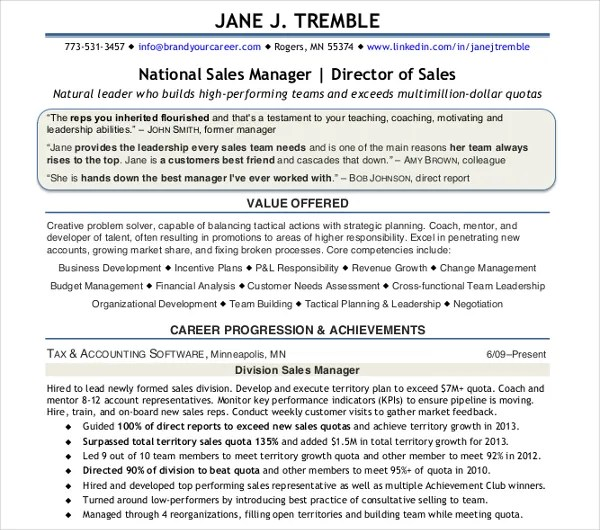 25+ Modern Sales Resume Templates - PDF, DOC Free  Premium Templates - National Sales Director Resume
