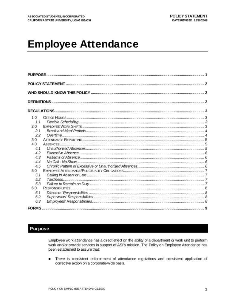 Employee Attendance 5 Employee Attendance Policy Free Premium Templates