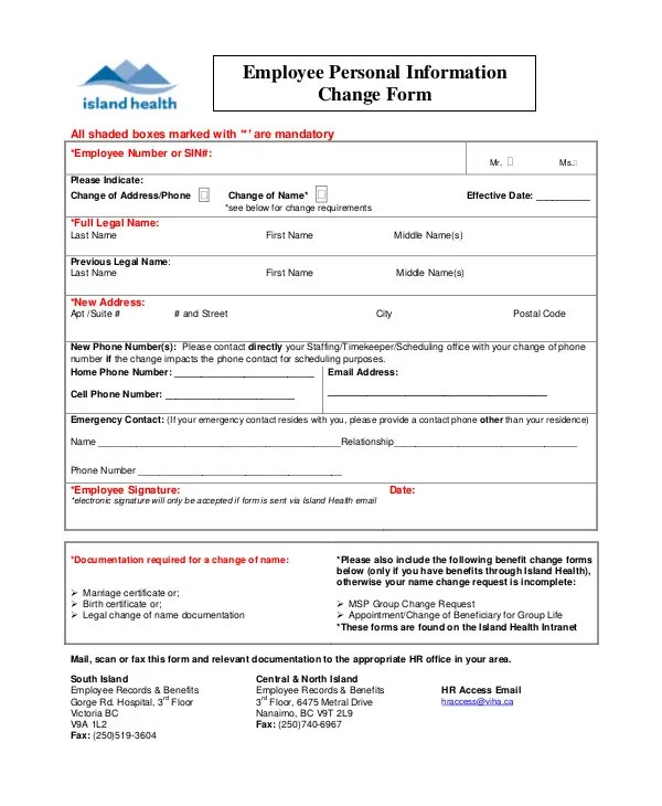 3+ Employee Record Change Forms Templates - PDF Free  Premium - employee change form