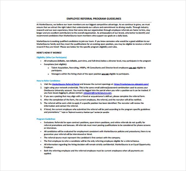 4+ Templates Employee Referral Form Free  Premium Templates - referral employment