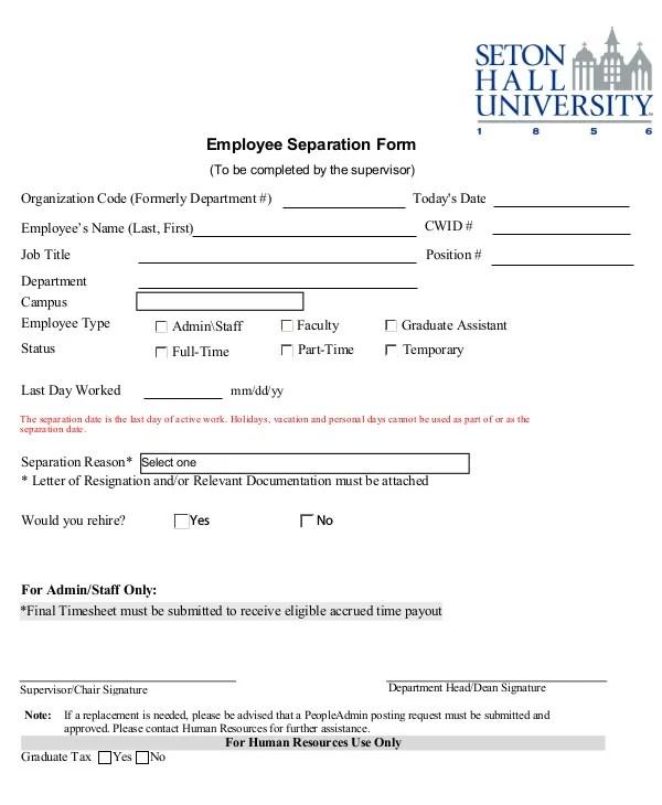 5+ Employment Separation Form Templates - PDF, Word Free  Premium - employee separation form template