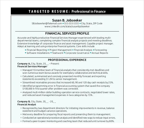 targeted resume sample pdf