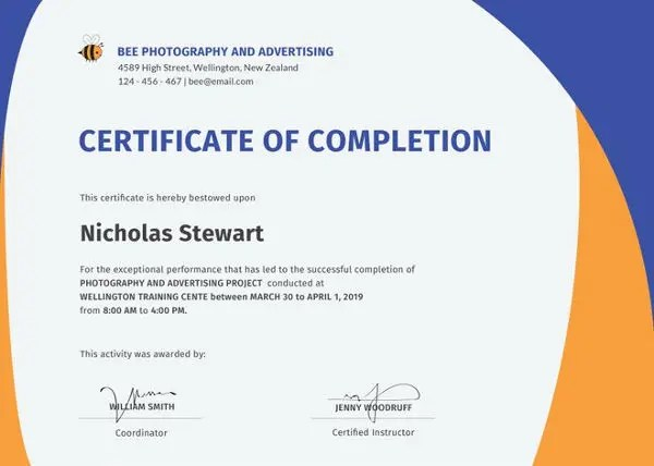 Certificate of Completion - 25+ Free Word, PDF, PSD Documents