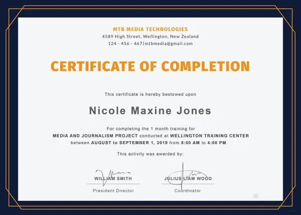 14+ Training Completion Certificate Designs  Templates - PSD, AI