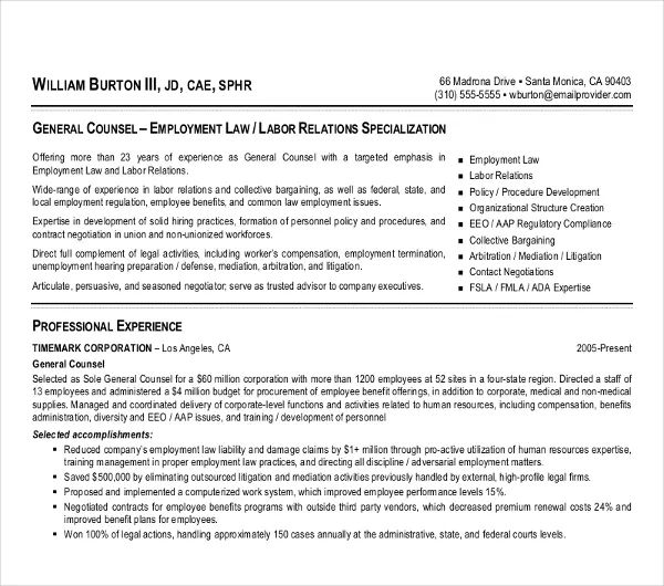 associate attorney sample resume