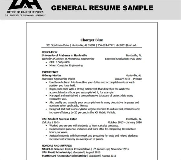 general resume objectives