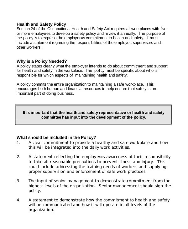 8+ Free Workplace Safety Policy Templates - PDF Free  Premium