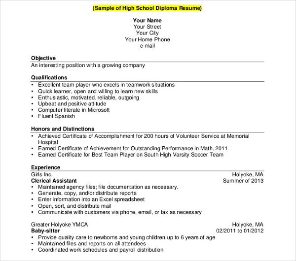 resume example of high school graduate