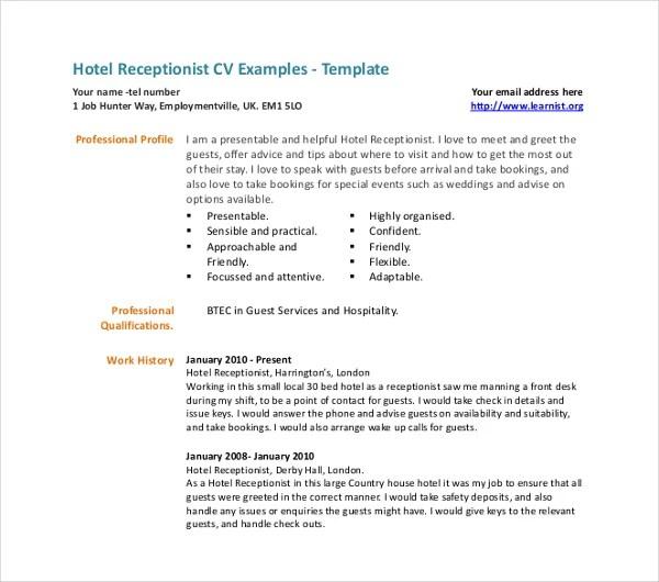 13+ Receptionist Curriculum Vitae Templates - PDF, DOC Free