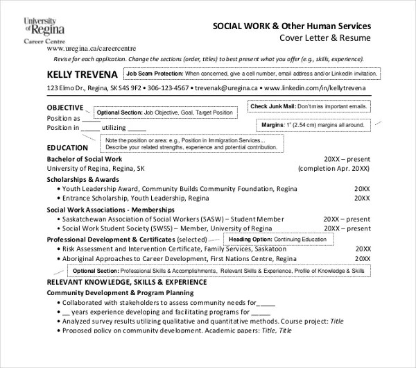 10+ Social Work Resume Templates - PDF, DOC Free  Premium Templates - social services resume template