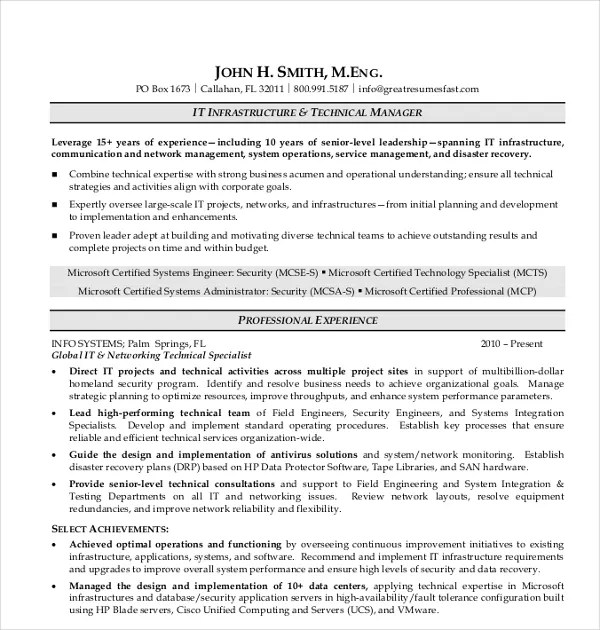 17+ IT Resume Templates - PDF, DOC Free  Premium Templates