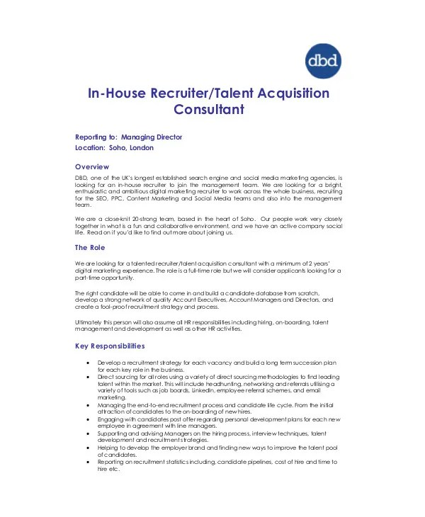 6+ Talent Acquisition Consultant Job Descriptions - PDF Free