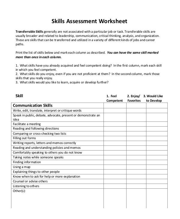 2+ Interpersonal  Organizational Skills Assessment Form Templates