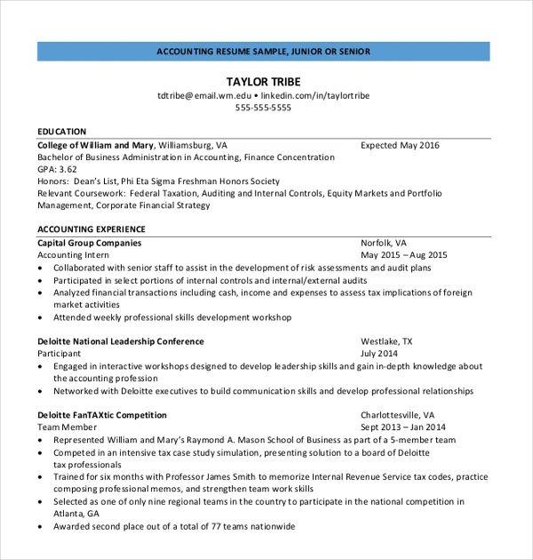 example junior accountant resume