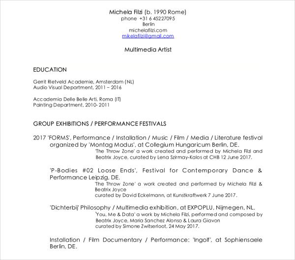 15+ Artist Resume Examples - PDF, DOC Free  Premium Templates - visual artist resume 1