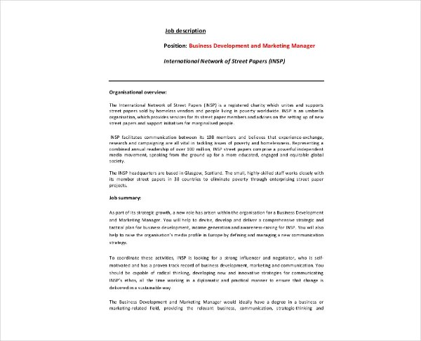 28+ Business Job Description Templates - PDF, Word Free  Premium