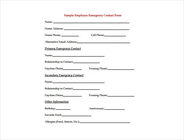 5+ Emergency Information Form Templates - PDF Free  Premium Templates