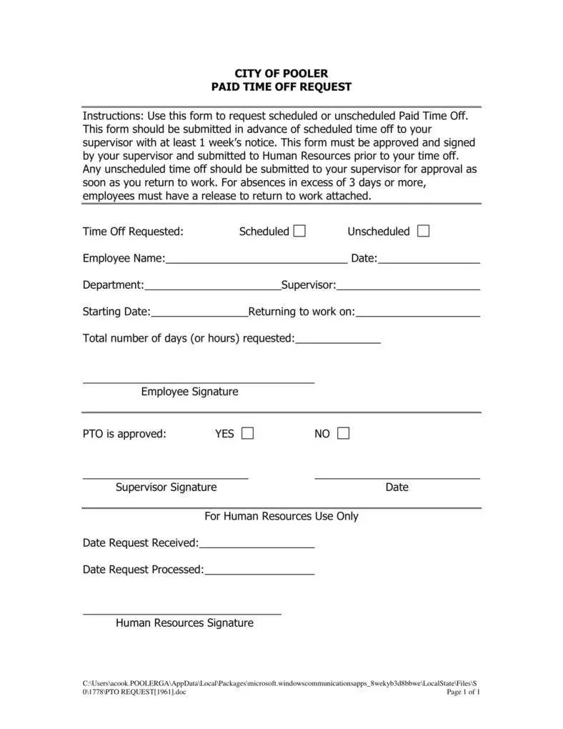 simple leave request form