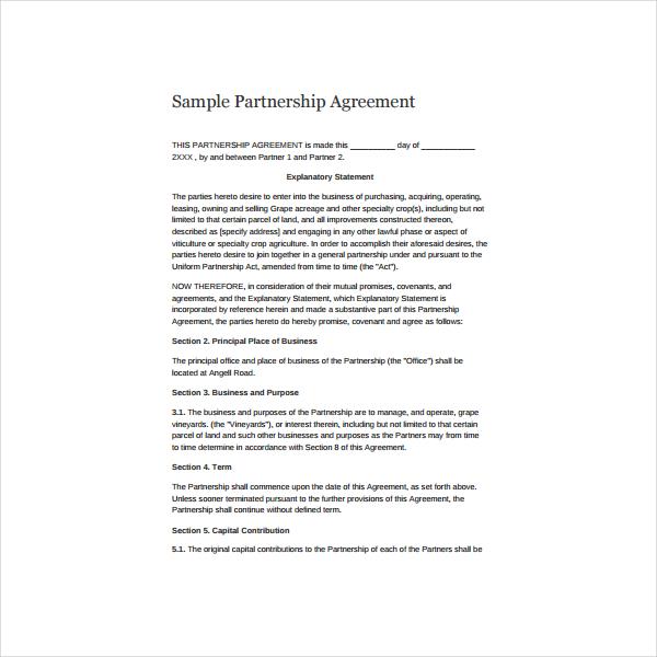 6+ Simple Partnership Agreement Templates, Samples and Examples - sample partnership agreements