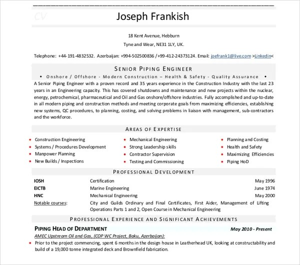 10+ Engineer Curriculum Vitae Templates - PDF, DOC Free  Premium