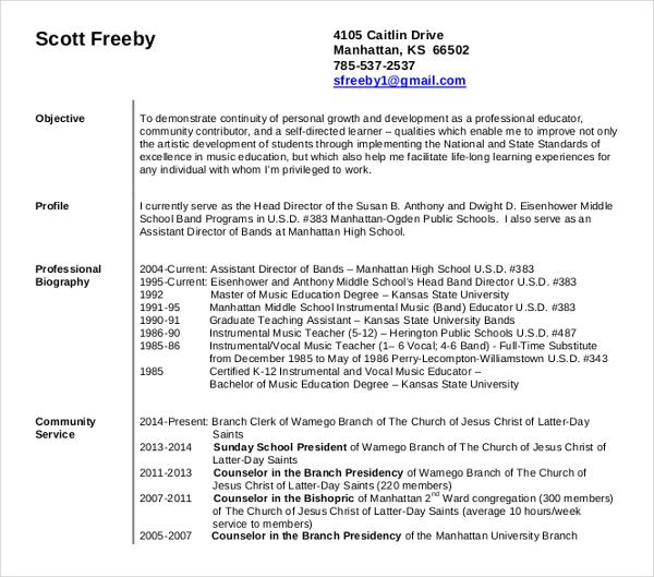 15+ Teaching Resume Templates - PDF, DOC Free  Premium Templates