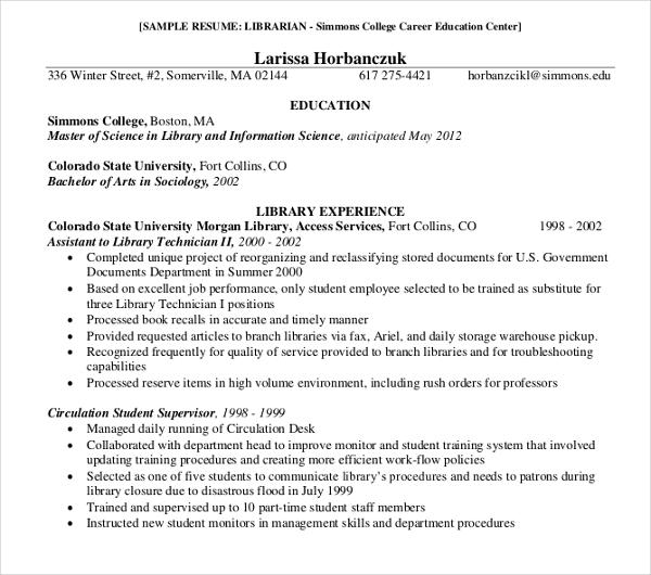 8+ Librarian Resume Templates - PDF, DOC Free  Premium Templates
