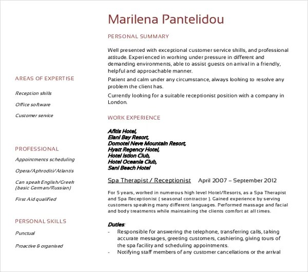 13+ Receptionist Curriculum Vitae Templates - PDF, DOC Free - resume template for receptionist